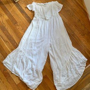 Lush White Flowy Strapless Jumpsuit